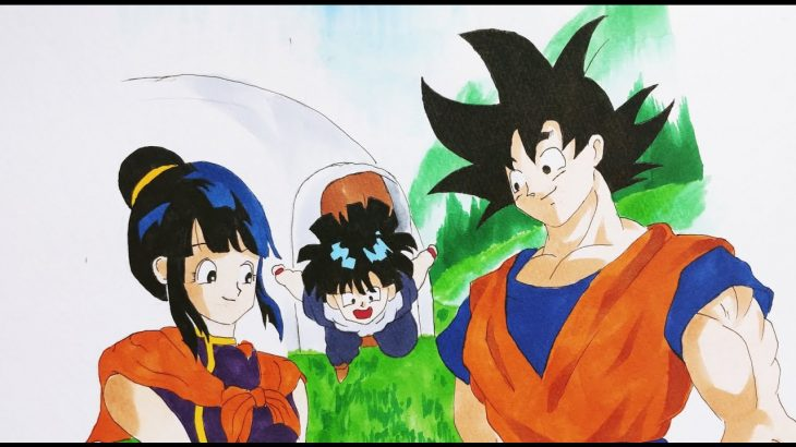 【ドラゴンボール絵】Drawing Goku Chichi Gohan   Family photo