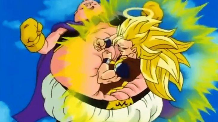 ドラゴンボールZ – 激突悟空がスーパーサイヤ人3に変身し、魔人ブウと戦う   Goku transforms into Super Sire 3 and fights with Boo