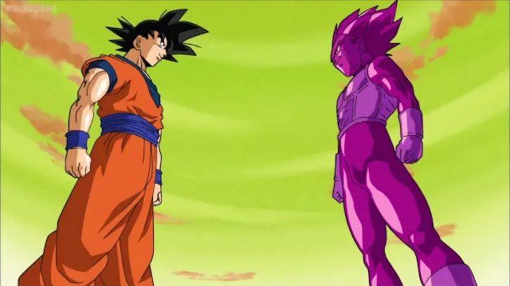 ドラゴンボール超 – ゴテンクスは重複ベジータに簡単に倒されます_悟空は紫色のクローンの前にベジータ