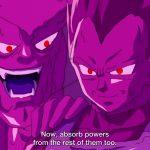 ドラゴンボール超   ゴテンクスは重複ベジータに簡単に倒されます、悟空は紫色のクローンの前にベジータを救出しているように見えます