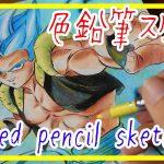 【ドラゴンボール超】シークレットカード!ゴジータが出た!喜びの色鉛筆スケッチ/Drawing  Dollagonball's secret card Gogeta!